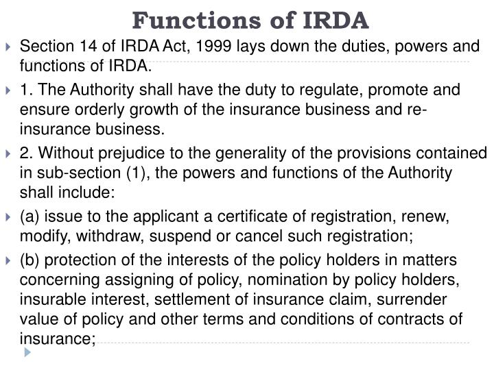 Functions of IRDA