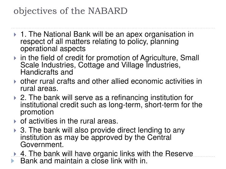 Objectives of the nabard