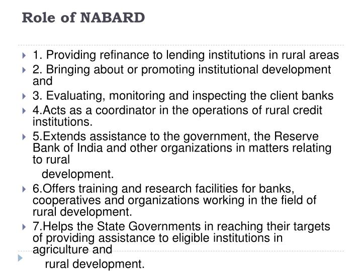 Role of nabard