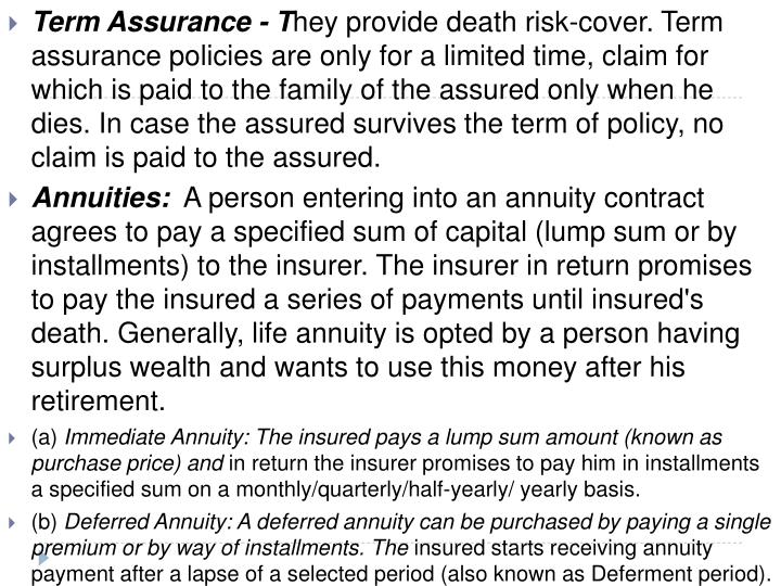 Term Assurance - T