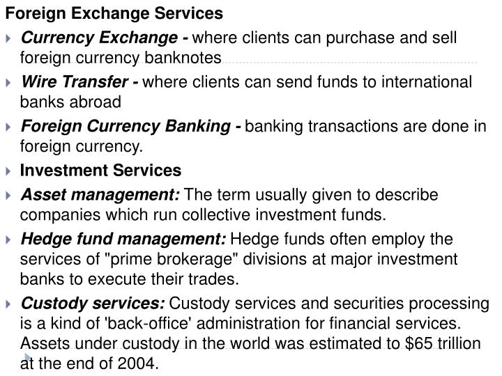 Foreign Exchange Services