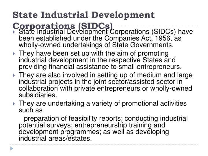 State Industrial Development Corporations (SIDCs)