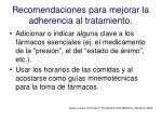 recomendaciones para mejorar la adherencia al tratamiento1