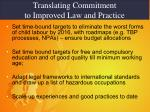translating commitment to improved law and practice