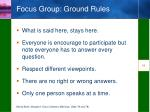 focus group ground rules