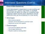interviews questions cont d