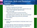 interviews skills and resources needed