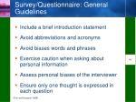 survey questionnaire general guidelines
