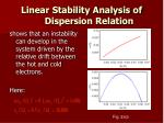 linear stability analysis of dispersion relation