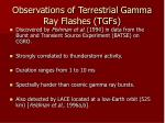 observations of terrestrial gamma ray flashes tgfs