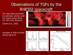 observations of tgfs by the rhessi spacecraft
