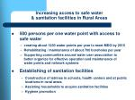 increasing access to safe water sanitation facilities in rural areas