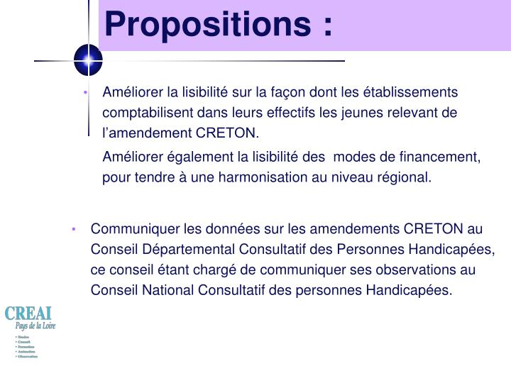 Propositions :