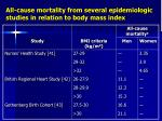 all cause mortality from several epidemiologic studies in relation to body mass index