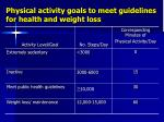 physical activity goals to meet guidelines for health and weight loss
