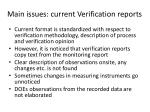 main issues current verification reports