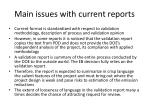 main issues with current reports