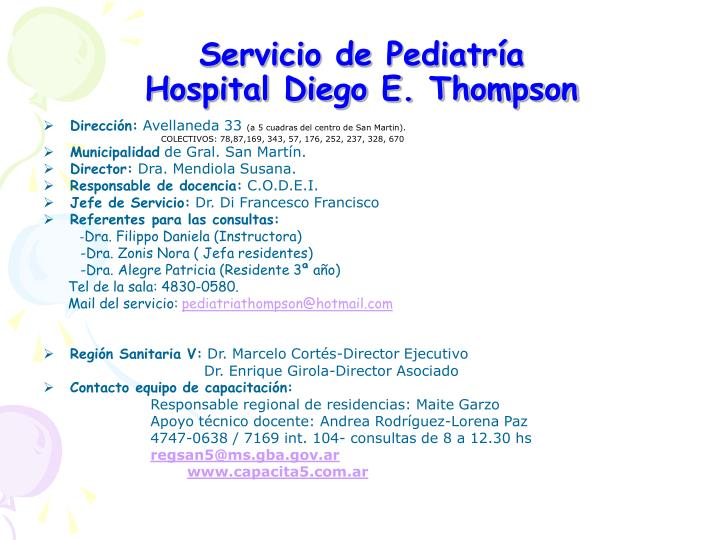 servicio de pediatr a hospital diego e thompson n.