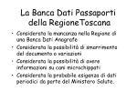 la banca dati passaporti della regionetoscana
