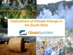 implications of climate change in the south west