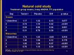 natural cold study treatment group means 2 way anova itt population