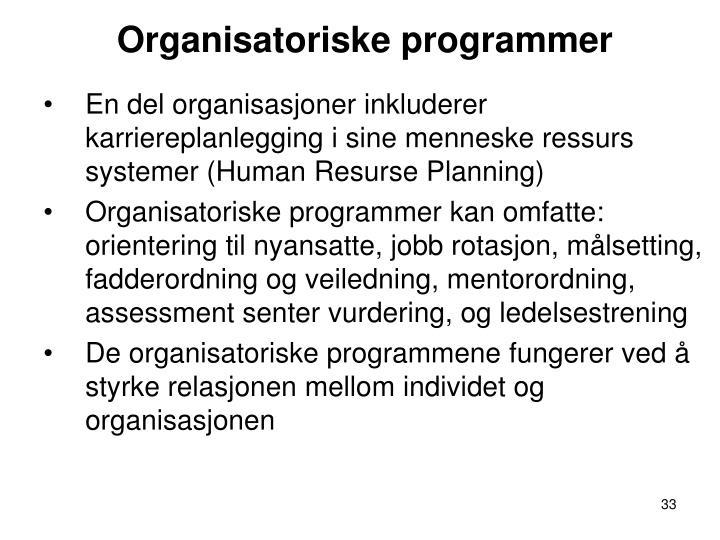 Organisatoriske programmer