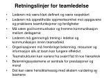 retningslinjer for teamledelse
