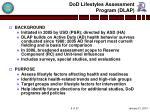 dod lifestyles assessment program dlap
