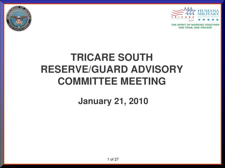 tricare south reserve guard advisory committee meeting n.