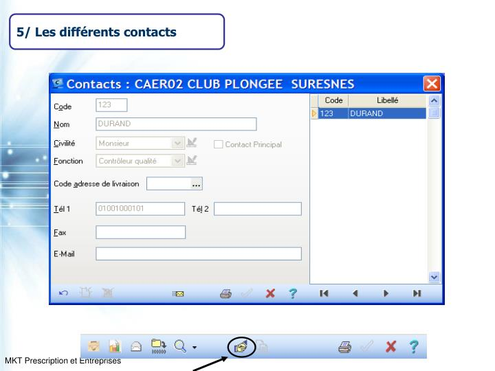 5/ Les différents contacts