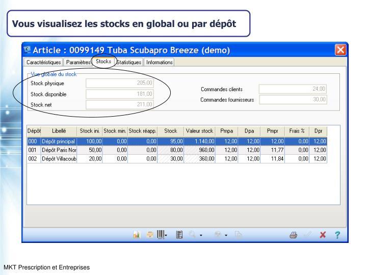 Vous visualisez les stocks en global ou par dépôt