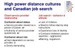 high power distance cultures and canadian job search