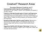 creativeit research areas synergies between creativity and it