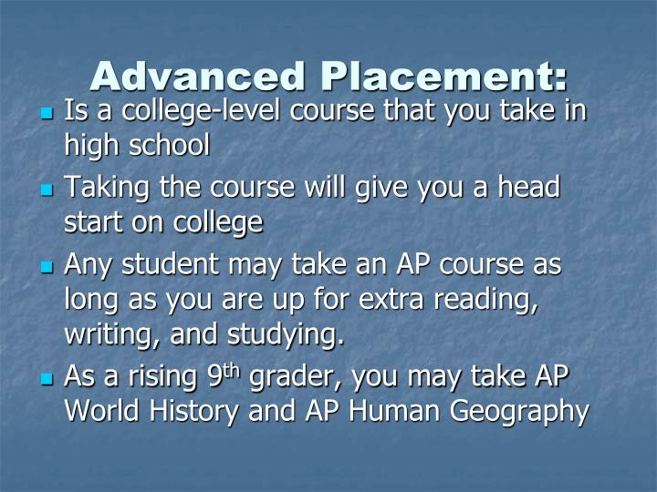 Advanced Placement: