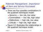 materials management importance of item and service purchased1