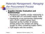 materials management managing the procurement process