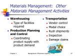 materials management other materials management activities