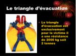 le triangle d vacuation
