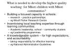 what is needed to develop the highest quality teaching for m ori children with m ori communities