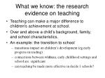 what we know the research evidence on teaching