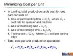 minimizing cost per unit