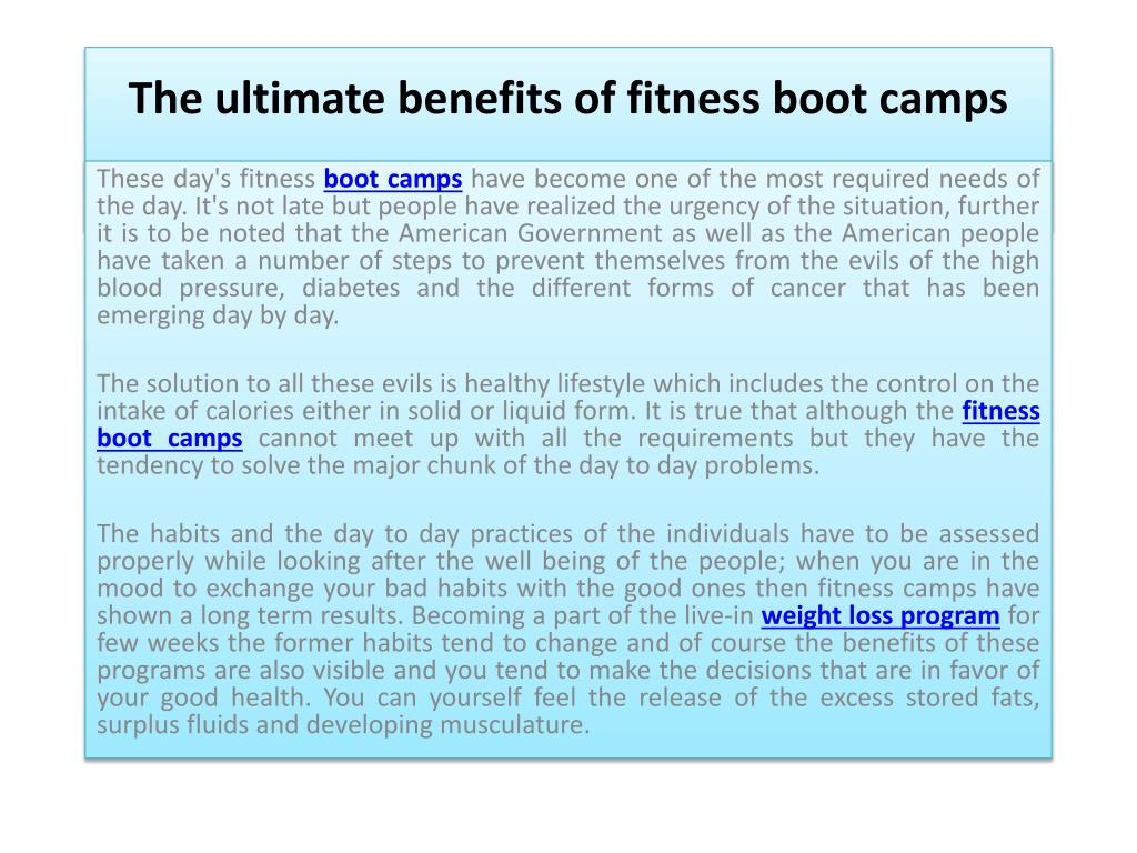the ultimate benefits of fitness boot camps