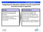integrating the education initiative into the overall csr structure of intel is important