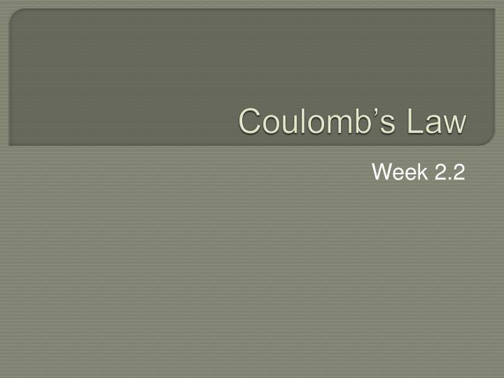 coulomb s law n.