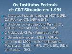 os institutos federais de c t situa o em 1 999