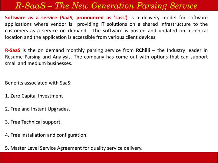 R-SaaS – The New Generation Parsing Service