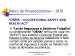 marco do prevencionismo 1970 osha occupational safety and health act