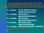 kalendar realizacije nastave iz mikrobiologije kolske 2009 10
