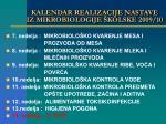 kalendar realizacije nastave iz mikrobiologije kolske 2009 101