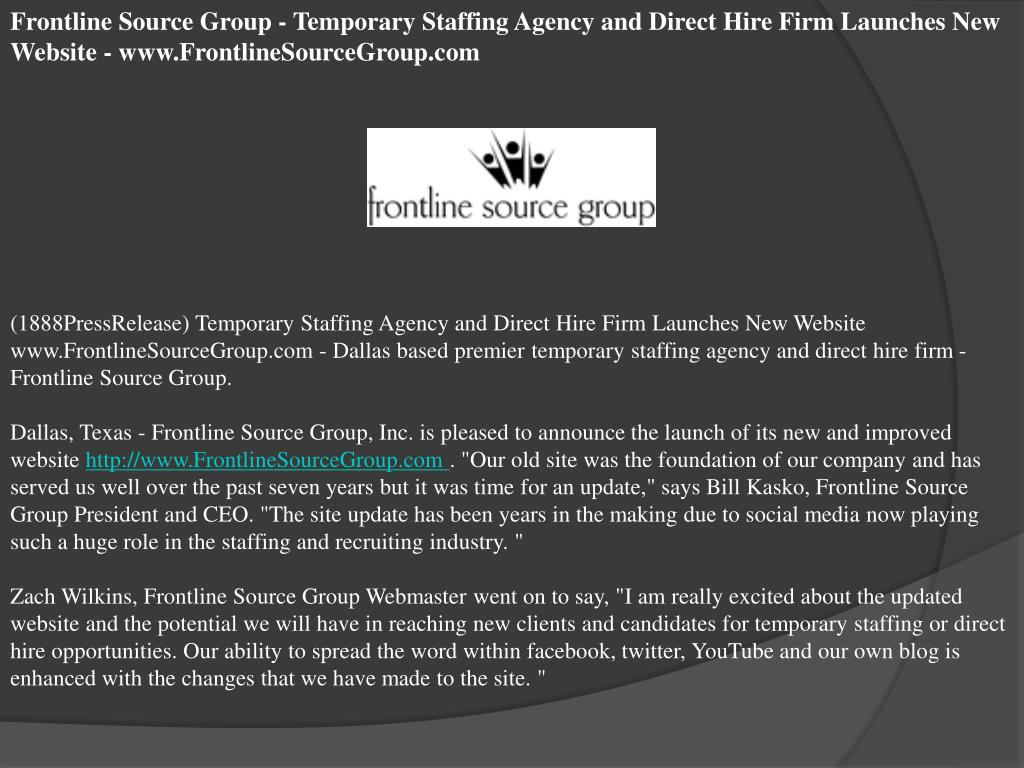 Frontline Source Group - Temporary Staffing Agency and Direct Hire Firm Launches New Website - www.FrontlineSourceGroup.com